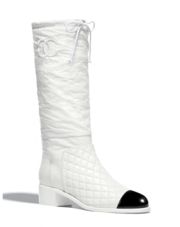 Chanel White Quilted & Crackled Leather Cap-Toe Boots