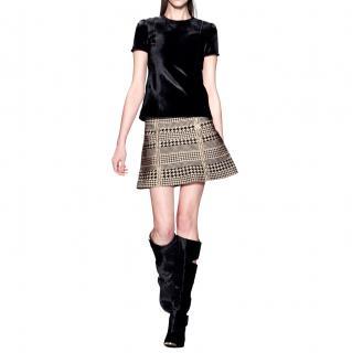 Herve Leger Beige Houndstooth A-Line Skirt