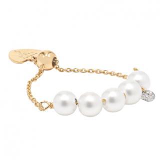 Pers�e 18-karat gold, pearl & diamond perl�e ring