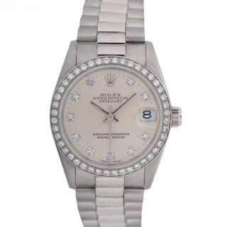 Rolex Unisex Datejust Mid-Size Platinum Silver Dial Diamond