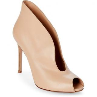 Gianvito Rossi Nude Leather Split-Vamp Booties