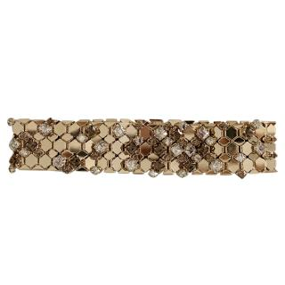 Lanvin Gold Tone Crystal Embellished Honeycomb Necklace