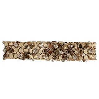 Lanvin Gold Tone Crystal Embellished Honeycomb Necklace