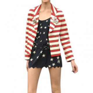Chanel Red & White Striped Runway Jacket