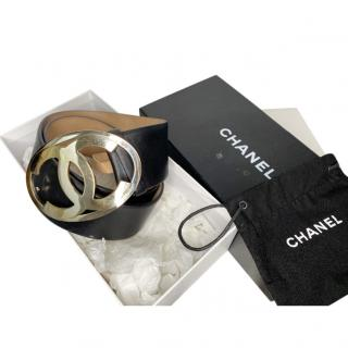 Chanel Black Lambskin CC Belt