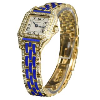 Cartier 22mm 18k Yellow Gold Blue Panthere Watch