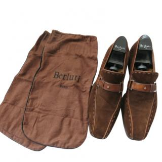 Berluti vintage brown suede loafers