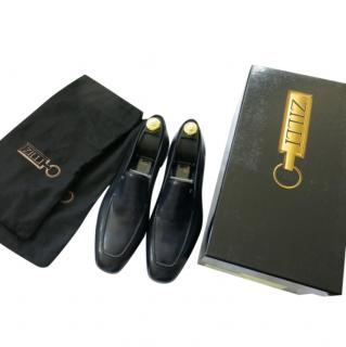 Zilli handmade navy blue leather loafers