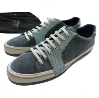 Zilli  blue leather and suede sneakers