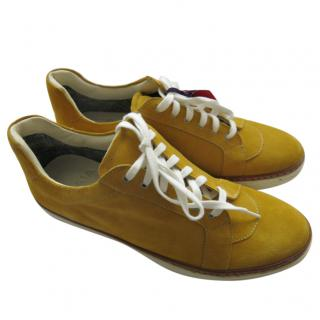 Isaia Mustard Yellow Suede Sneakers