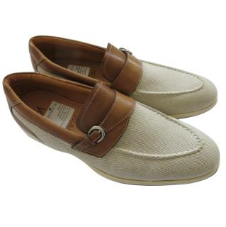 Isaia Canvas & Leather Loafers