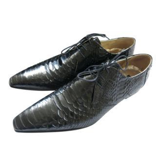 Zilli Black Shiny Python Leather Oxfords