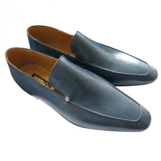 Zilli Blue Leather Handmade Loafers