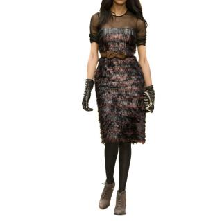 Burberry Prorsum Runway Mesh Metallic Tassel Dress