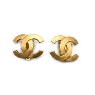 Chanel Gold Tone CC Earrings