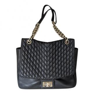 Karl Lagerfeld Black Quilted Leather Tote Bag