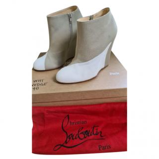 Christian Louboutin Canvas & Leather Wedge Suede Boots