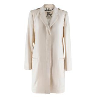 Burberry Cream Button-Down Cashmere Coat