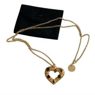 Dolce & Gabbana Embellished Gold Tone Heart Pendant Necklace