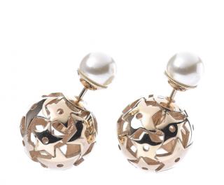 Dior Faux Pearl Mise En Dior Tribal Star Earrings