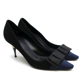 Giambattista Valli Black & Navy Suede Pumps with Bow Detail