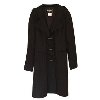 Chanel Wool Black Tailored Duffle Coat