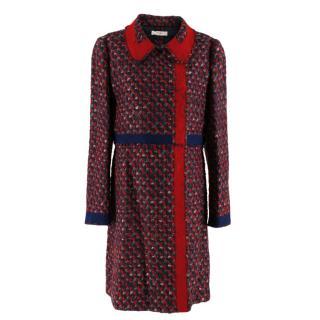 Prada Red & Blue Wool Blend Tweed Coat