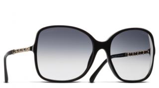 Chanel Black Oversize Chain Trim Sunglasses