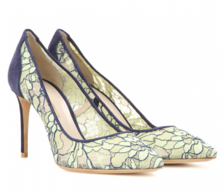 Nicholas Kirkwood Green Angie Suede-Trimmed Lace Pumps