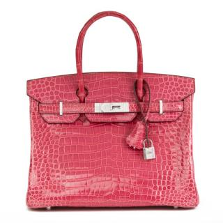 Hermes Crocodile Fuchsia 30cm Birkin with Diamond PHW