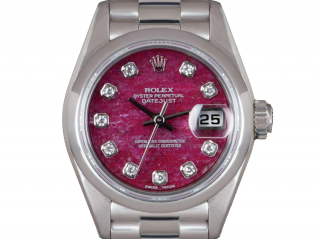 Rolex 26mm Platinum Set Rubellite Datejust Watch - 1996