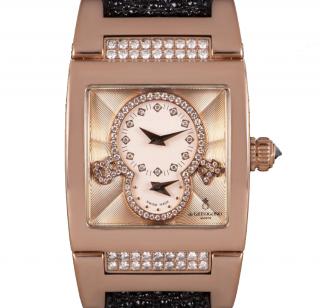 De Grisogono 18k Rose Gold 29mm Instrumentino Dual Time Watch
