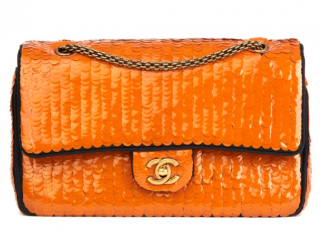 Chanel Orange Sequin Embellished Satin Paris/Shanghai Double Flap