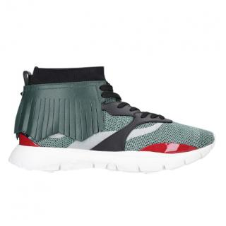 Valentino Heroes Knit Fringe Leather Trainers