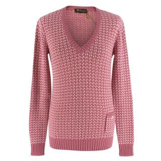 Loro Piana Pink & White Knit Cashmere Sweater