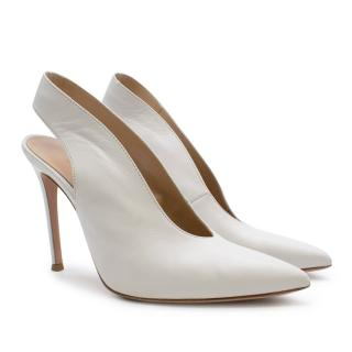 Gianivito Rossi New Vamp White Leather Slingback Pumps