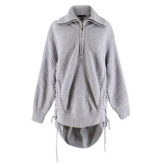 Barbara Bui Grey Wool Knit Half-Zip Lace-Up Jumper