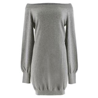 Alexander McQueen Longline Grey Cashmere Off- Shoulder Dress