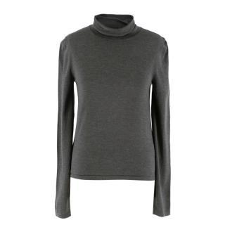 The Row Grey Silk Turtleneck Sweater