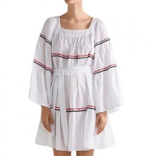 Lisa Marie Fernandez Rickrack trim broderie anglaise mini dress