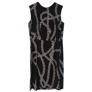 Louis Vuitton Black Chain Print Sleeveless Dress