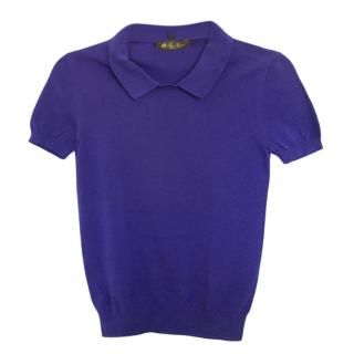 Loro Piana Purple Cotton Polo Top
