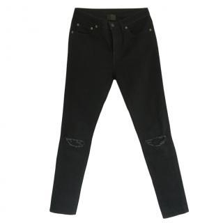 Saint Laurent D05 Black Distressed Skinny Jeans