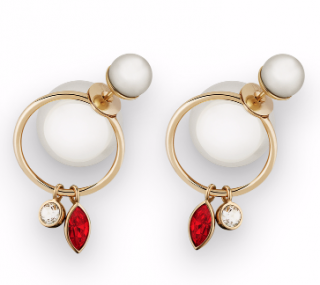 Dior White Mise En Dior Crystal Dangle Earrings