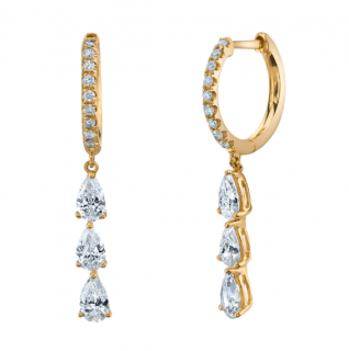 Anita Ko Pear Diamond Drop Huggie Earrings