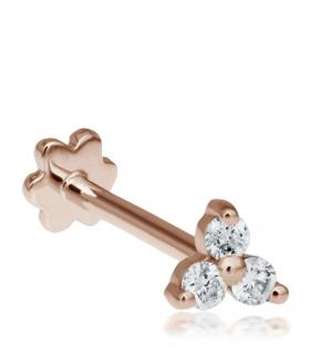 Maria Tash Rose Gold Diamond Trinity Tragus Earring