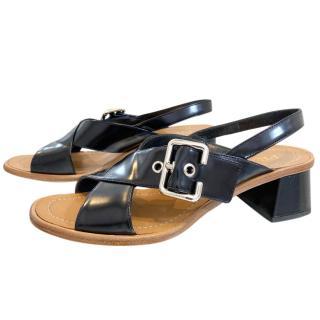 Prada Black Leather Crossover Sandals