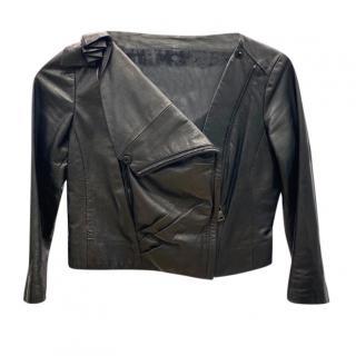 Prada Black Cropped Leather Asymmetric Jacket