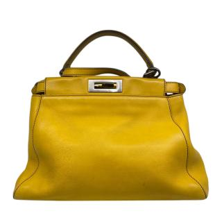 Fendi Yellow Leather Peekaboo Tote Bag