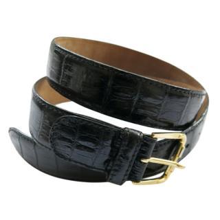 Bruno Handmade Black Crocodile Leather Belt
